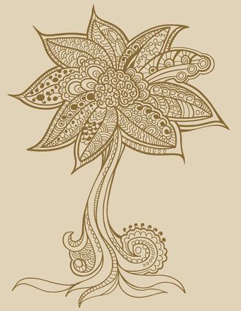 Henna doodle Tree  Ilustrace