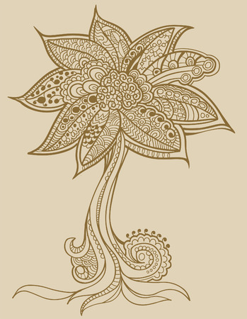 Henna doodle Tree  Çizim