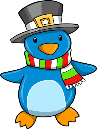 Christmas Holiday Penguin  Illustration