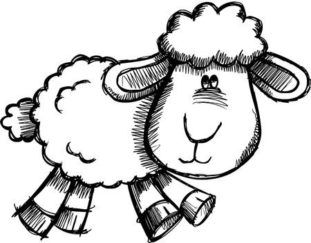 Doodle Sketchy Sheep Lamb  Illustration