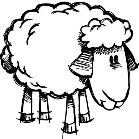 Doodle Sketchy Sheep Lamb  Ilustracja