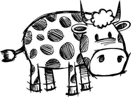 Doodle Sketchy Cow  Illustration