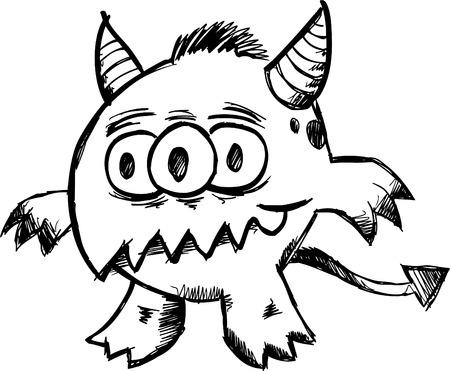 Doodle Sketchy Monster  Archivio Fotografico - 7167222