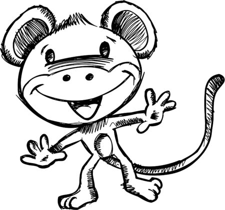 Doodle Sketchy Safari Monkey  Vector