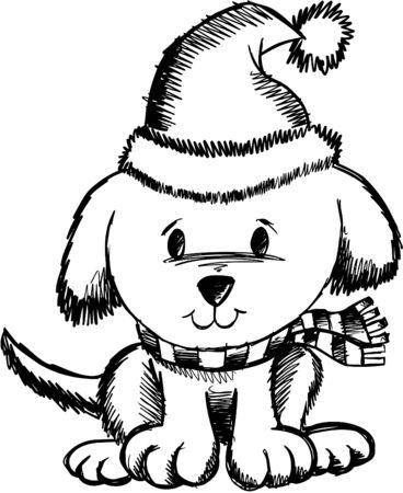 Sketchy Holiday Dog  Çizim