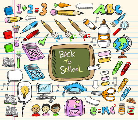 Back to School Doodle Education Illustration Set  Vettoriali