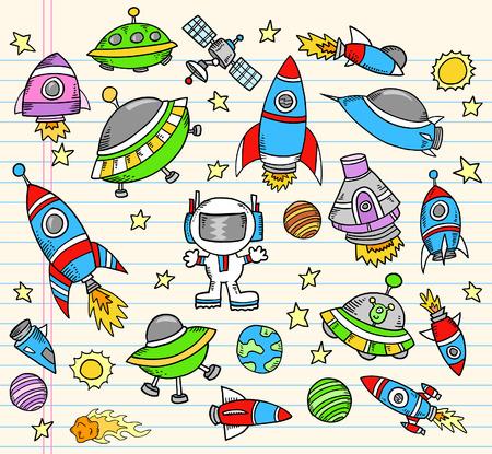 platillo volador: Espacio ultraterrestre Doodle port�til set de ilustraci�n de elementos  Vectores