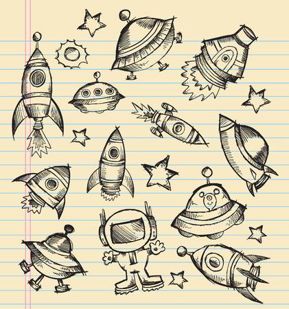 우주 공간 낙서 스케치 노트북 요소 일러스트 세트