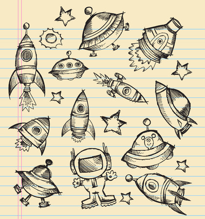 space shuttle: Outer Space Doodle Sketch notebook Elements Illustration Set