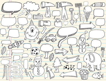 moon fish: Notebook Doodle Speech Bubble Design Elements Mega Illustration Set  Illustration