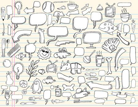 Notebook Doodle Speech Bubble Design Elements Mega Illustration Set  Stock Vector - 7261095
