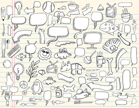 Notebook Doodle Speech Bubble Design Elements Mega Illustration Set  Vettoriali