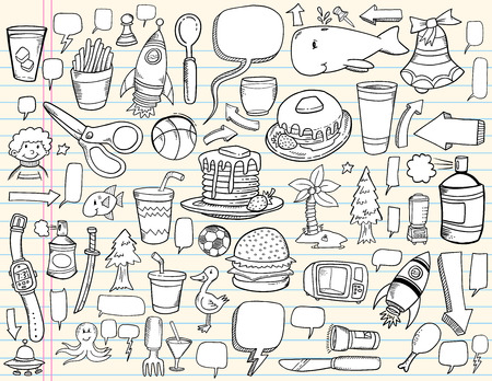 Notebook Doodle Speech Bubble Design Elements Mega Illustration Set  Ilustração