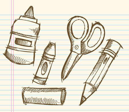School Doodle Sketch Illustration  Illusztráció