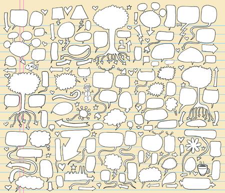 MEGA Giant Notebook Doodle toespraak bubble illustratie set  Stock Illustratie