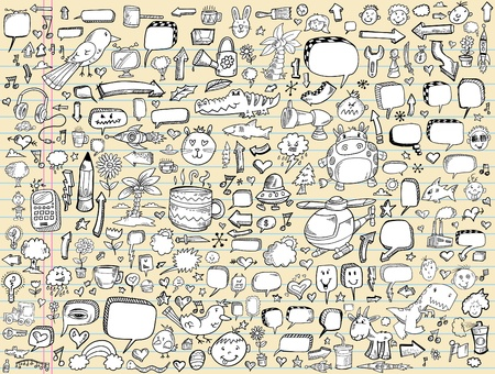 Notebook sketch Doodle Vector Illustration Design Elements Set Vettoriali