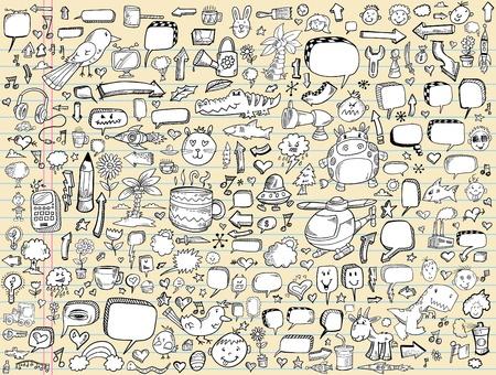 food and drink industry: Schizzo di notebook Doodle Vector Illustration Design gli elementi impostati