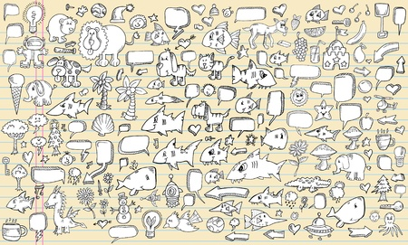 Notebook Sketch doodle Vector Illustration Design Elements Set