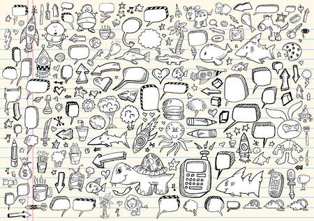 Notebook Doodle schets toespraak Bubble Design elementen Mega Vector Illustratie Set  Stock Illustratie