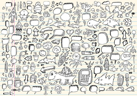 Notebook Doodle Sketch Speech Bubble Design Elements Mega Vector Illustration Set  矢量图像
