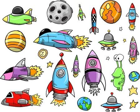 cohetes: Nave espacial Doodle conjunto de ilustraci�n de dibujo vectorial