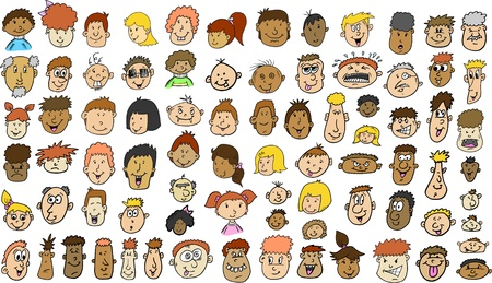 Multicultural People Face doodle sketch Vector Illustration set Stock Vector - 9386172