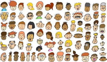 Multiculturele mensen worden geconfronteerd doodle schets Vector Illustratie set Stock Illustratie
