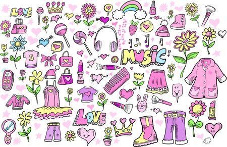 princess: Primavera principessa Girlie Doodle Sketch colore Vector Illustration Set