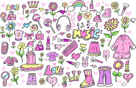 Spring Princess Girlie Doodle Sketch Color Vector Illustration Set