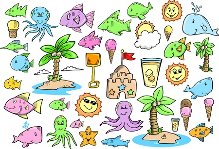 creare: Carini estate oceano creare Doodle Sketch colore Vector Illustration Set
