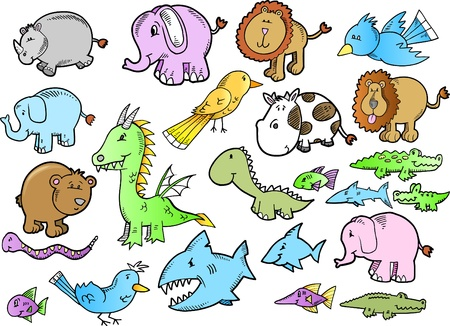 dinosaur cute: Cute Safari Animal doodle sketch color Vector Illustration Set