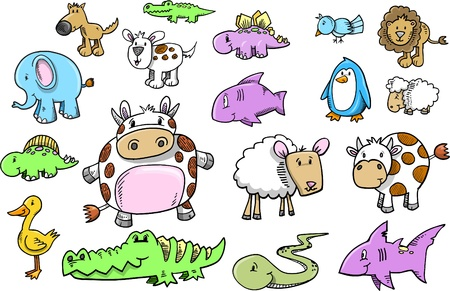 lion and lamb: Cute Safari Animal doodle sketch color Vector Illustration Set