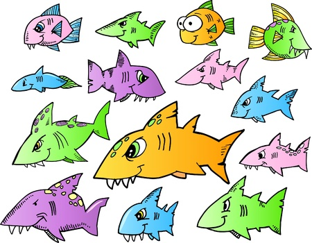 Ocean Fish Shark Color Doodle Vector Illustration Set Stock Vector - 9386178
