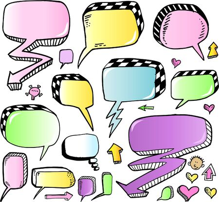 Color Doodle Sketch Speech Bubble Arrow Vector Illustration Set  矢量图像