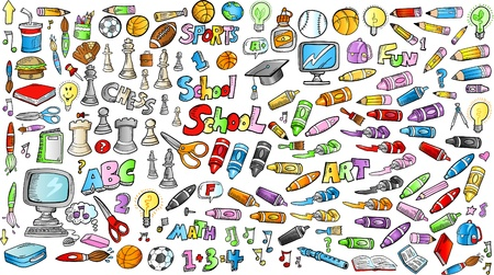 tachuelas: Regreso a la escuela Doodle educaci�n esbozo de aprendizaje