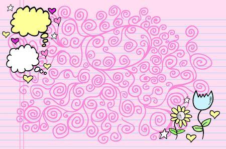 Notebook Doodle Clip art Design Elements spring time Vector Illustration  Çizim