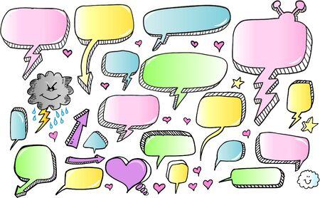 Color Doodle Sketch Speech Bubble Arrow Vector Illustration Set  Illusztráció
