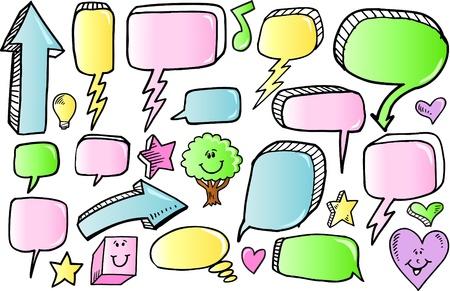 comic bubble: Color Doodle Sketch Speech Bubble Arrow Vector Illustration Set  Illustration