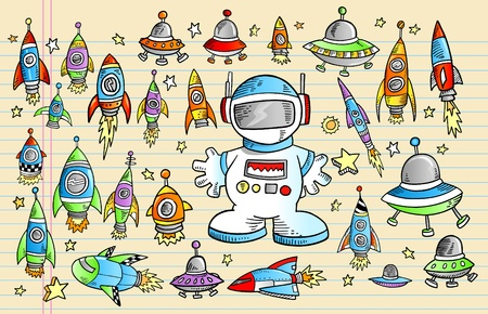 space: Notebook Outer Space Rocket Ship Doodle Sketch Vector Illustration Set