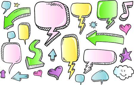 Notebook Color Doodle Sketch Speech Bubble Arrow Vector Illustration Set