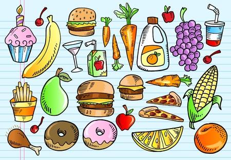 色ノートブック落書きスケッチおいしい食べ物ベクトル イラスト セット