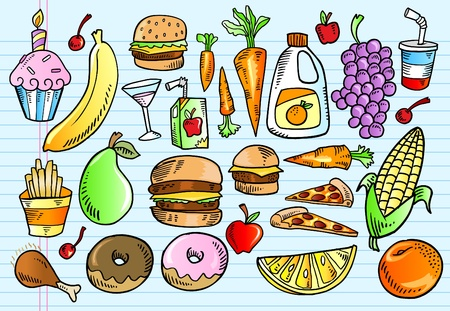 Kleurenset Notebook Doodle schets smakelijke voedsel vectorillustratie  Stock Illustratie