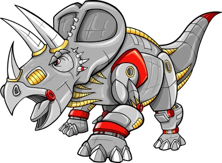 herbivore: Robot Machine Triceratops Dinosaur Vector Illustration