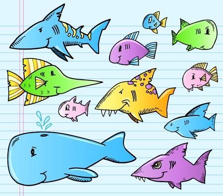 Ocean Fish Shark Color notebook Doodle Illusztráció