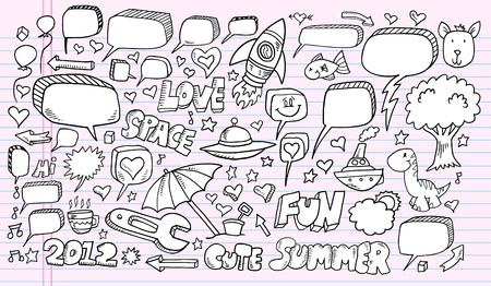 drink tools: Notebook Doodle Sketch Speech Bubble Design Elements Illustration