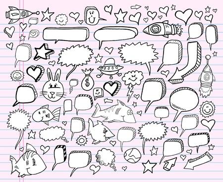 Notebook Doodle Sketch Speech Bubble Design Elements Ilustração