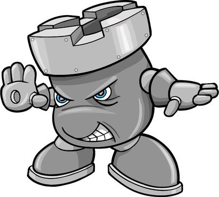 Cyborg Robotic Warrior Chess Rook Vector Illustration