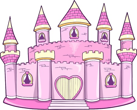 Cute Pink Princess Queen Royal Castle Vector Illustration