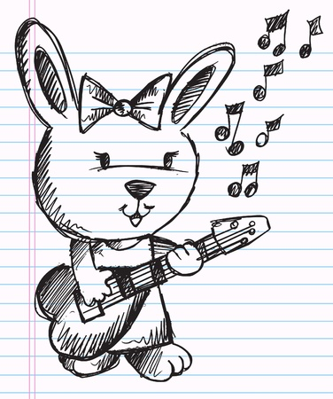 Notebook Doodle Sketch Rock Star singer Rabbit Bunny Vector Illustration  Иллюстрация
