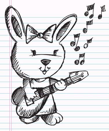 sketch: Notebook Doodle Sketch Rock Star singer Rabbit Bunny Vector Illustration  Illustration